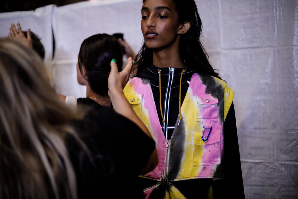 GANNI Copenhagen Fashion Week Backstage Spring Summer 2019 SS19 Vest Pink Yellow