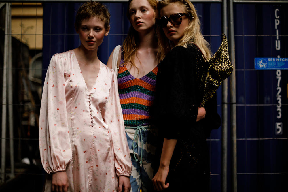 GANNI Copenhagen Fashion Week Backstage Spring Summer 2019 SS19 Silk Dress Pink Striped Top Orange Green