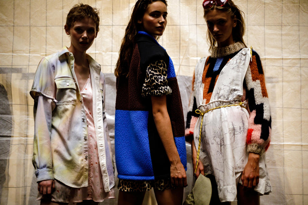 GANNI Copenhagen Fashion Week Backstage Spring Summer 2019 SS19 Tie Dye Jacket Pink White Vest Blue Black