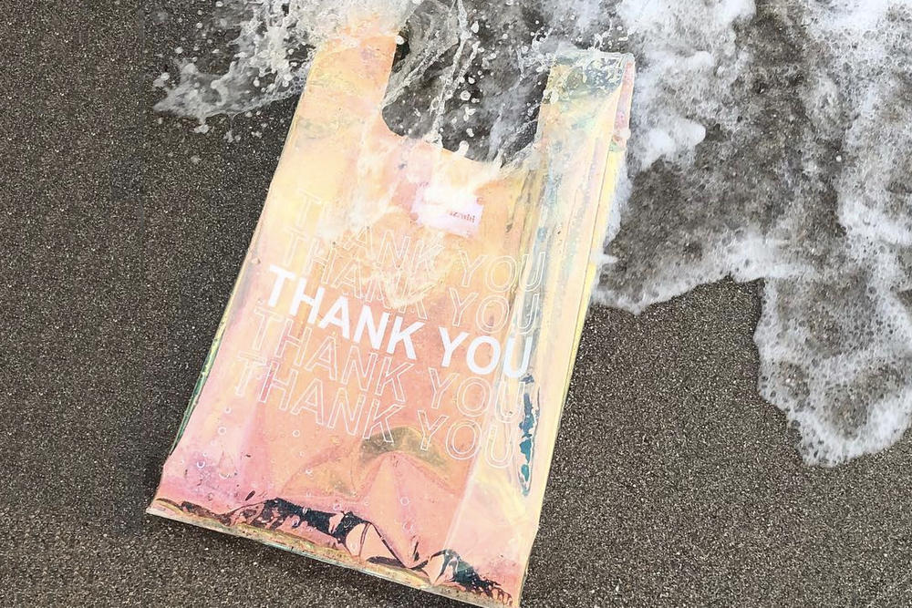 Gelareh Mizrahi Holographic Iridescent Thank You Plastic PVC Bodega Bag