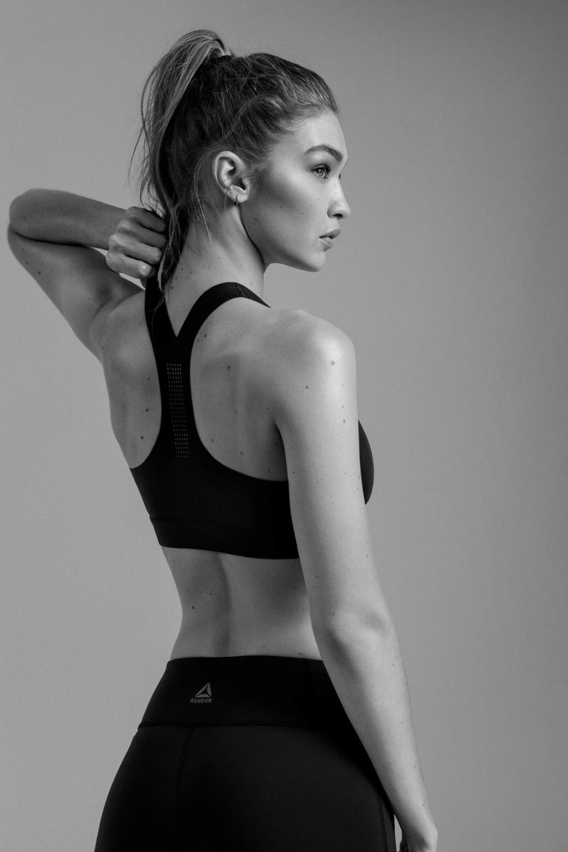 e2f2b6dadb Gigi Hadid in Reebok's PureMove Sports Bra Black | HYPEBAE