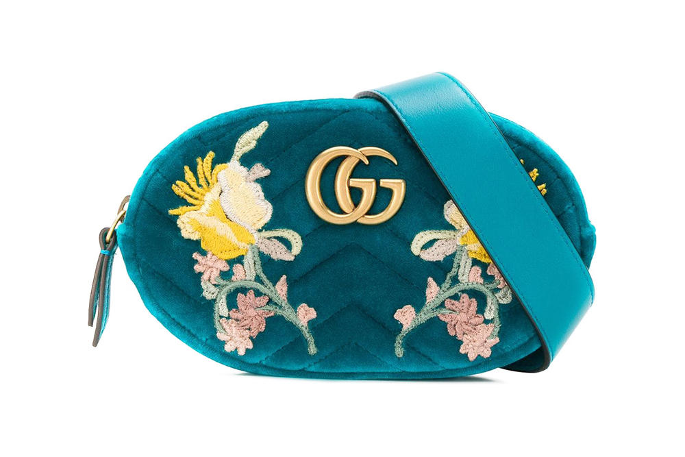 Gucci Velvet Bum Bag Floral Green