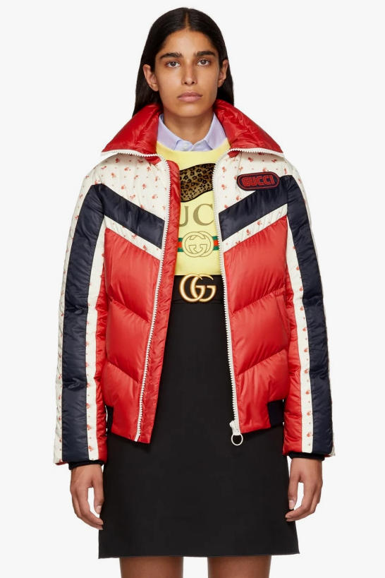 Gucci Floral Stripe Down Jacket Red