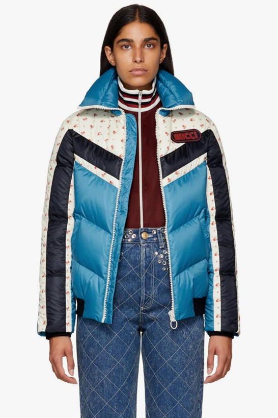 Gucci Floral Stripe Down Jacket Blue