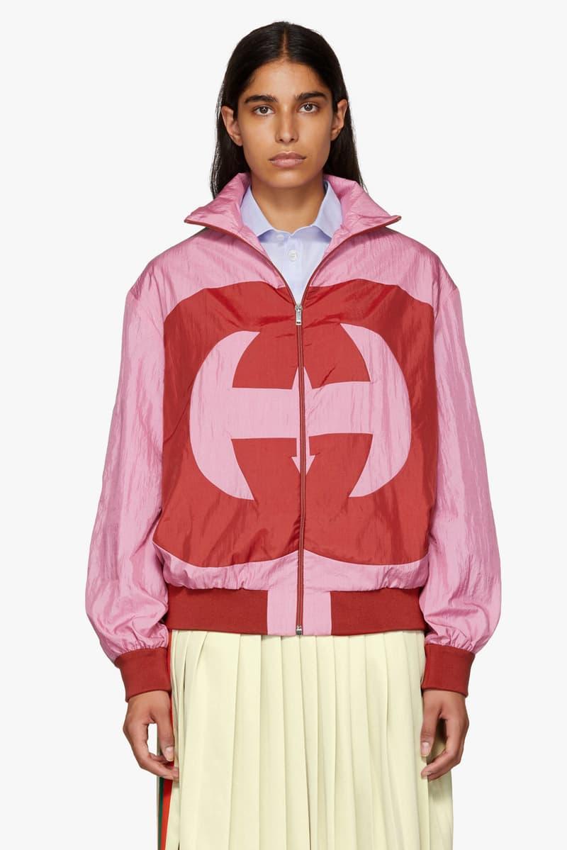 0a477cf74fa Gucci Pink GG Logo Retro Track Jacket SSENSE Monogram Pink Red