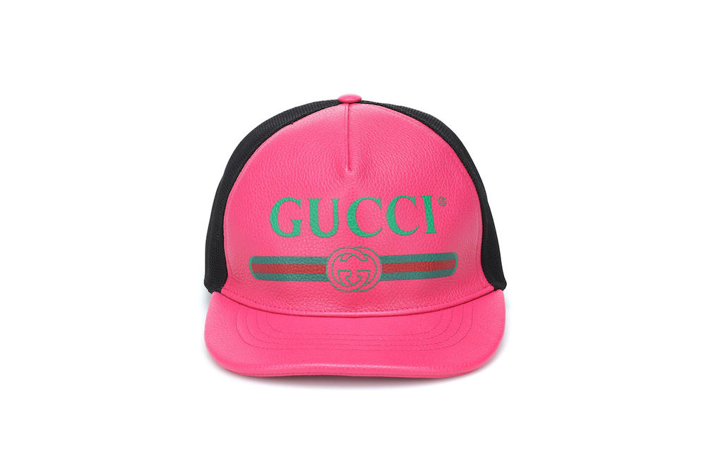 Gucci Pink Vintage Logo Leather Cap Strap Accessory Hat Alessandro Michele