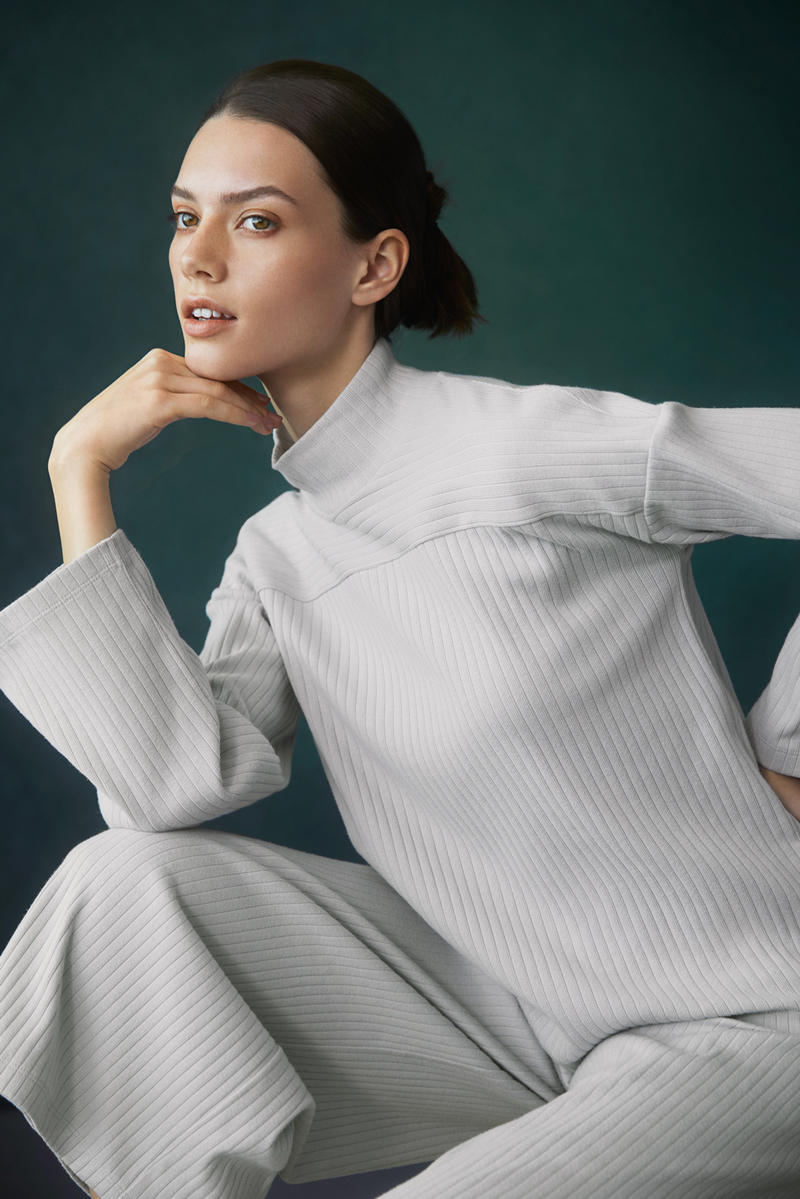 Hana Tajima for Uniqlo Fall/Winter 2018 Collection HPJ Ribbed High Neck Long Sleeve T-shirt Wide Pants Grey