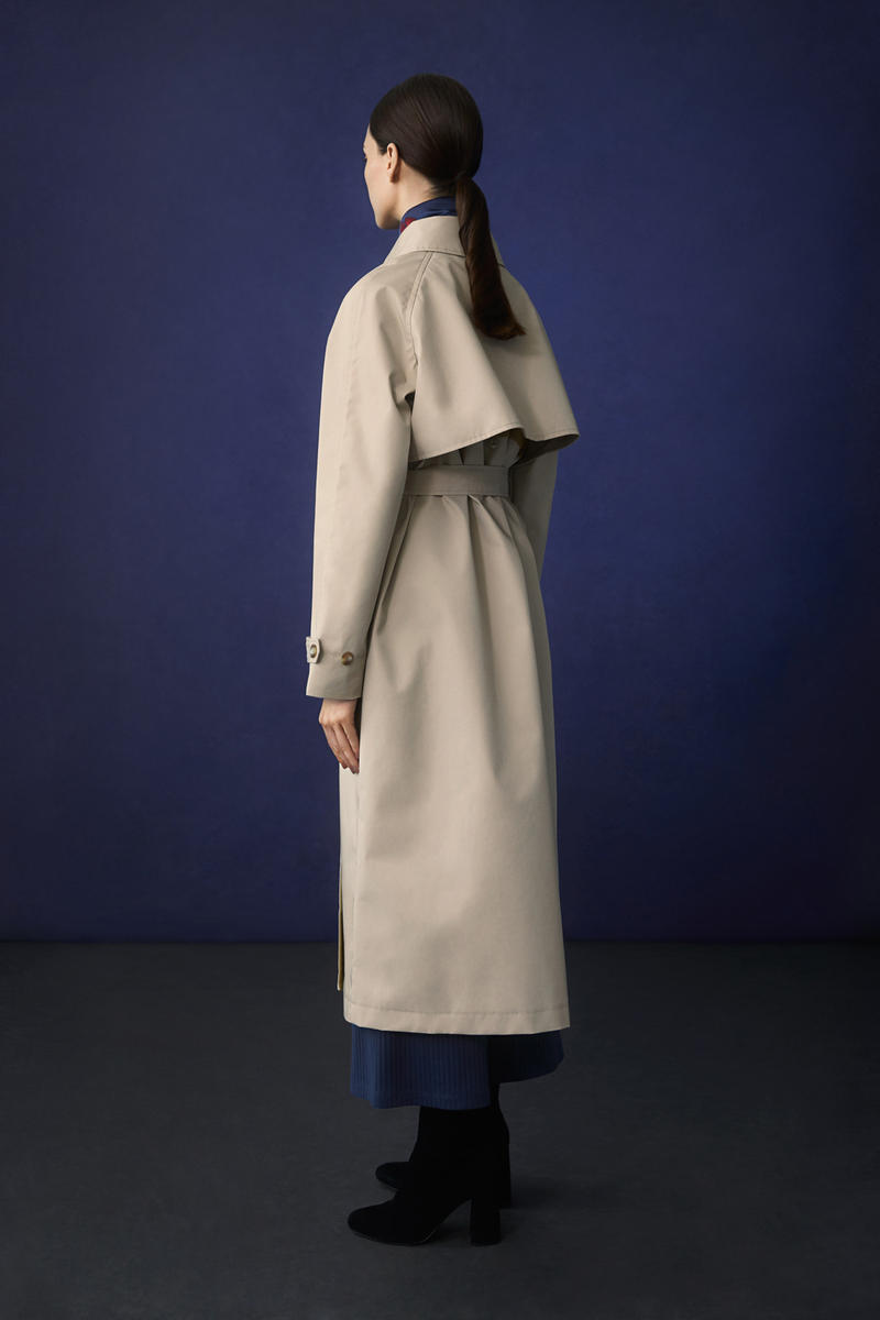 Hana Tajima for Uniqlo Fall/Winter 2018 Collection HPJ Belted Long Coat Tan Ribbed Wide Pants Blue