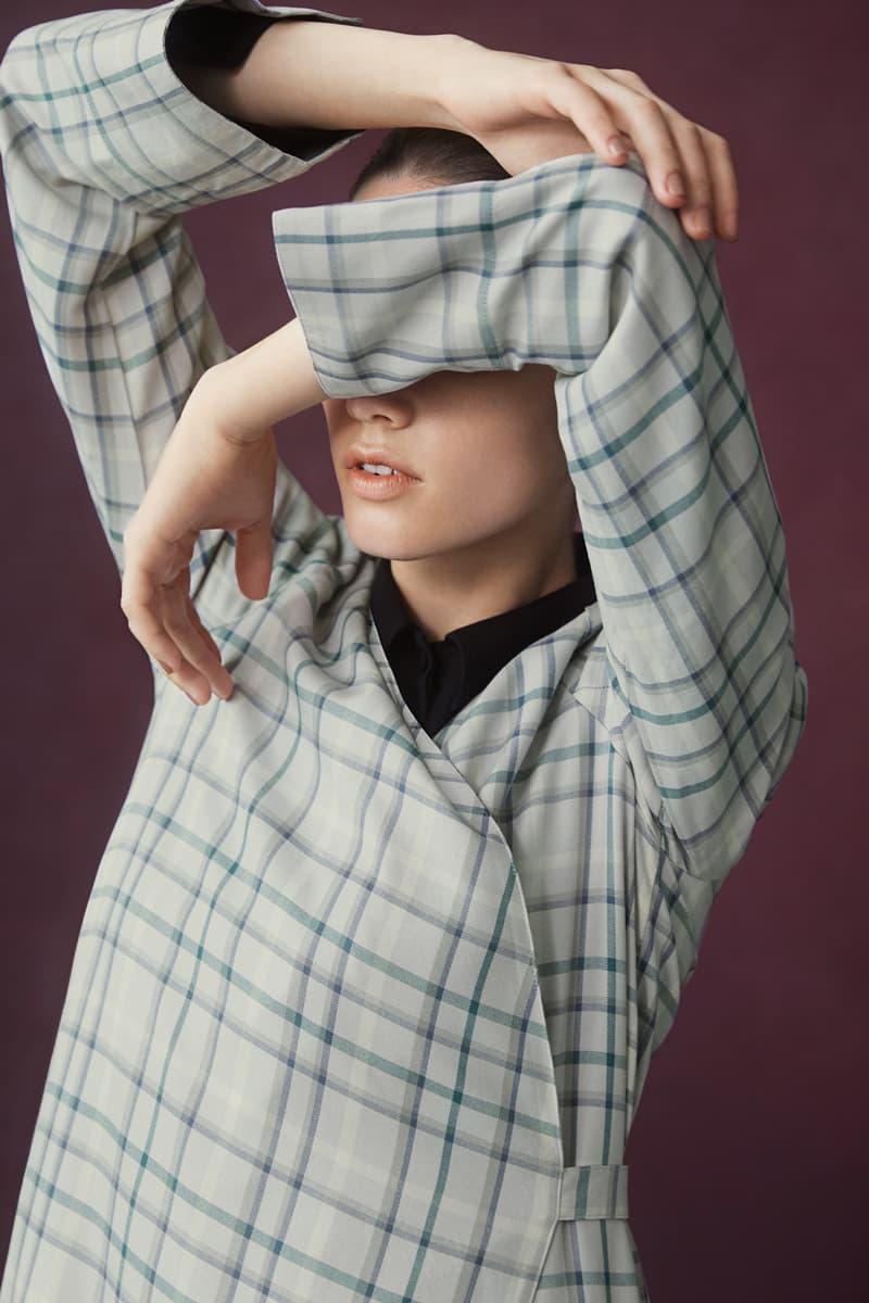 Hana Tajima for Uniqlo Fall/Winter 2018 Collection HPJ Tencel Flyfront Longsleeve Tunic Rayon Wrap Check Blue Grey