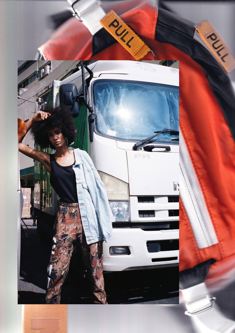 Heron Preston Fall/Winter 2018 Editorial HBX HBXWM Streetwear Collection Bag Hoodie Sweatshirt
