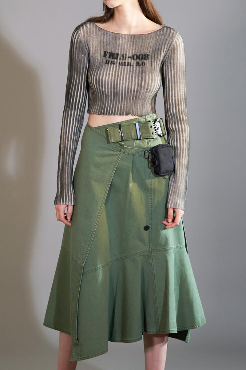 HBX Hyein Seo Fall/Winter 2018 Editorial Boat Neck Crop Top Tan Military Wrap Skirt Green
