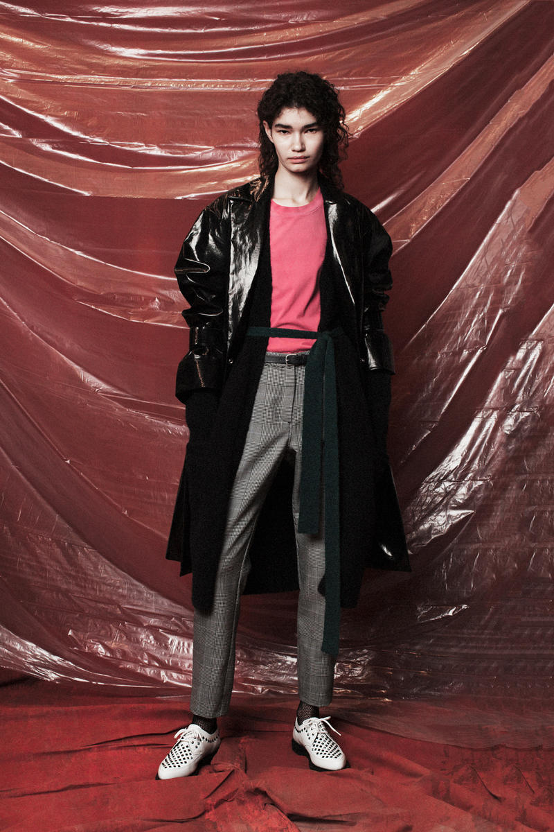 John Elliott Women's Fall/Winter 2018 Collection Lookbook Vinyl Coat Black Sweater Pink