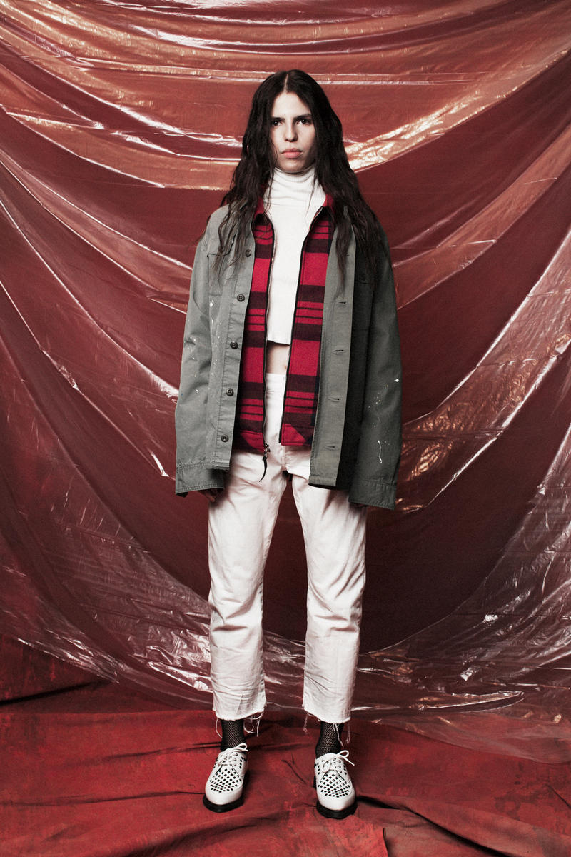 John Elliott Women's Fall/Winter 2018 Collection Lookbook Jacket Grey Pants White