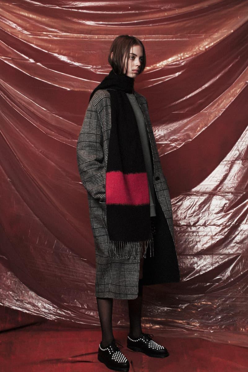 John Elliott Women's Fall/Winter 2018 Collection Lookbook Jacket Pants Grey Scarf Black Red