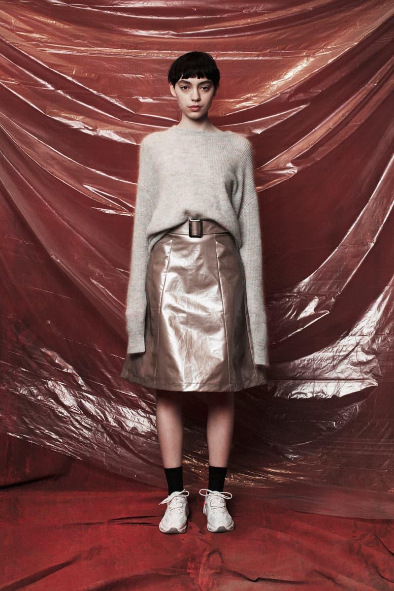 John Elliott Women's Fall/Winter 2018 Collection Lookbook Knit Sweater Tan Skirt Brown