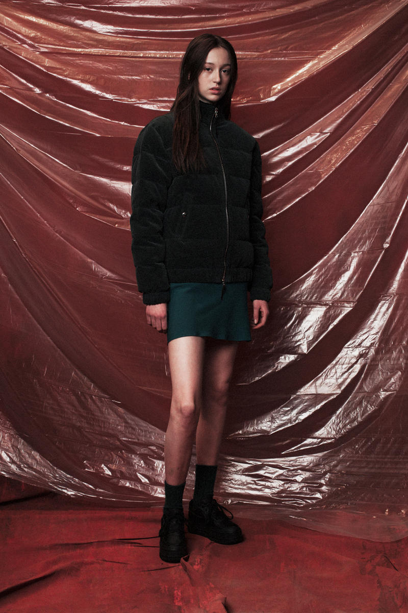 John Elliott Women's Fall/Winter 2018 Collection Lookbook Jacket Black Skirt Blue
