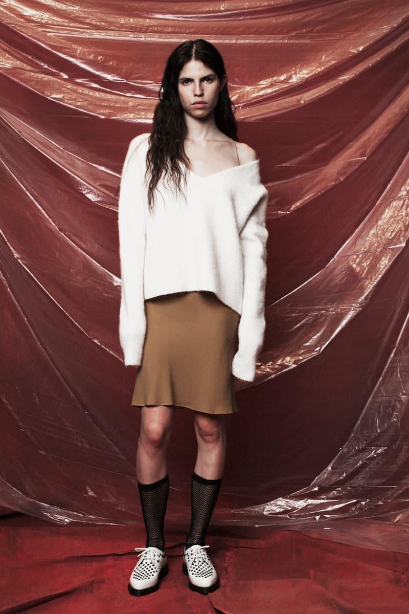 John Elliott Women's Fall/Winter 2018 Collection Lookbook Knit Sweater White Skirt Brown