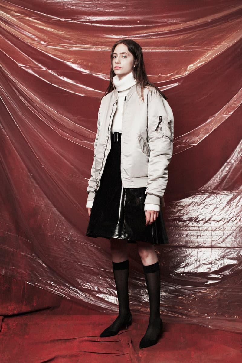 John Elliott Women's Fall/Winter 2018 Collection Lookbook Bomber Jacket Grey Sweater White Skirt Black