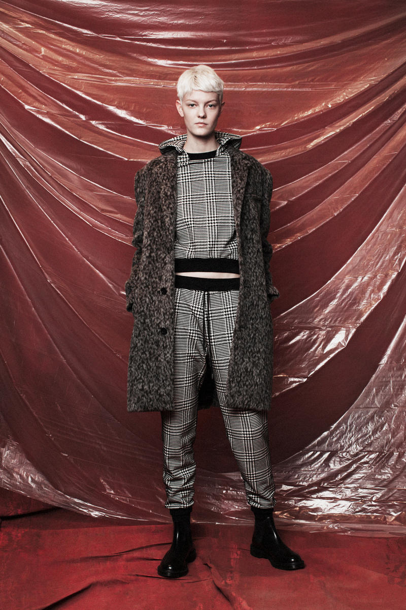 John Elliott Women's Fall/Winter 2018 Collection Lookbook Plaid Jacket Sweater Pants Grey