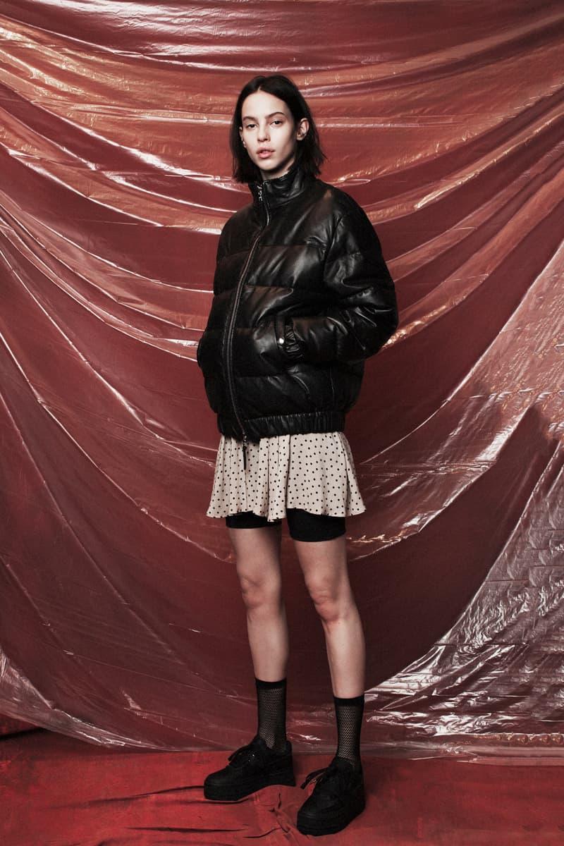 John Elliott Women's Fall/Winter 2018 Collection Lookbook Bomber Jacket Black Skirt Grey