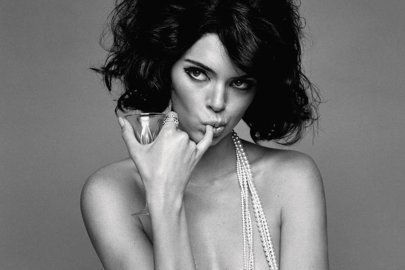 Kendall Jenner LOVE Magazine Black and White Editorial Pearl Necklace Glass Topless