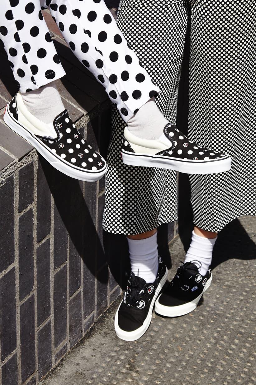Kiss My Vans Black White Polka Dot Slip-on Era Sneakers