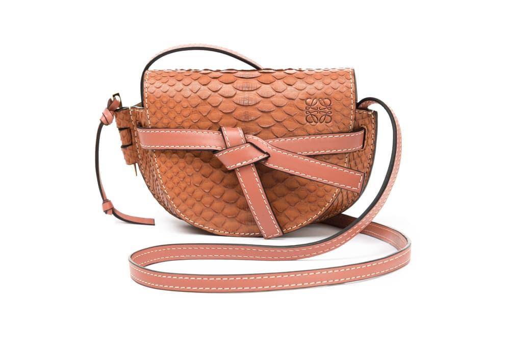 Loewe Mini Gate Bag Snakeskin Light Brown