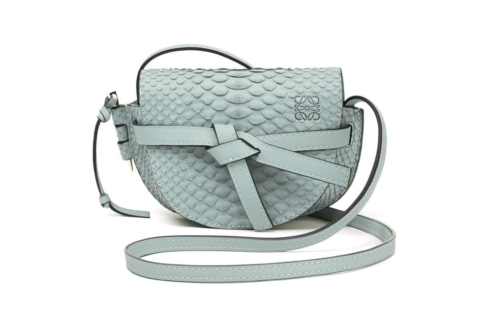 Loewe Mini Gate Bag Snakeskin Light Blue