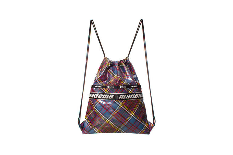 MadeMe x LeSportsac Capsule Collection Drawstring Backpack Blue Plaid