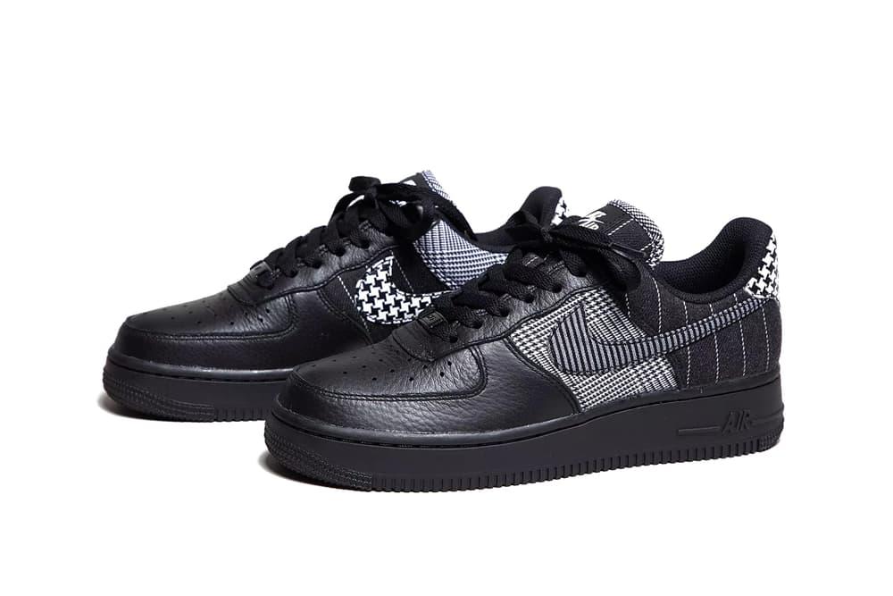 Nike Air Force 1 Sneaker Shoe Black White Dogtooth Print