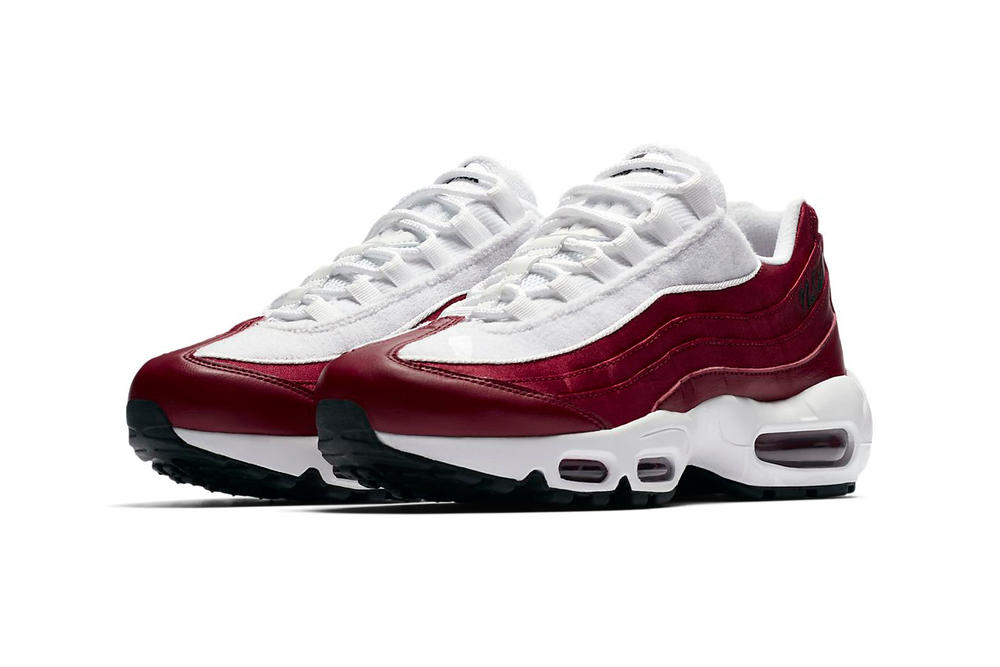 Nike Air Max 95 Satin NSW Red Crush White Terrycloth Women's Sneakers