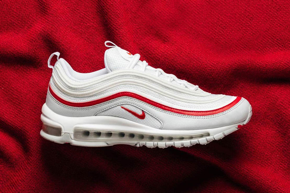 Nike S Air Max 97 In Pure Platinum And Red Hypebae