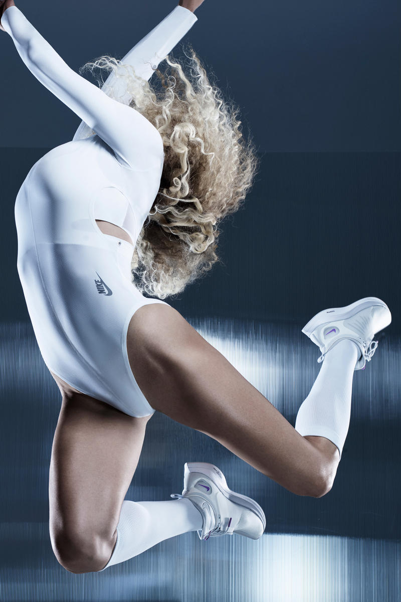 Nike City Ready Collection Campaign Olive Burgess Bodysuit White