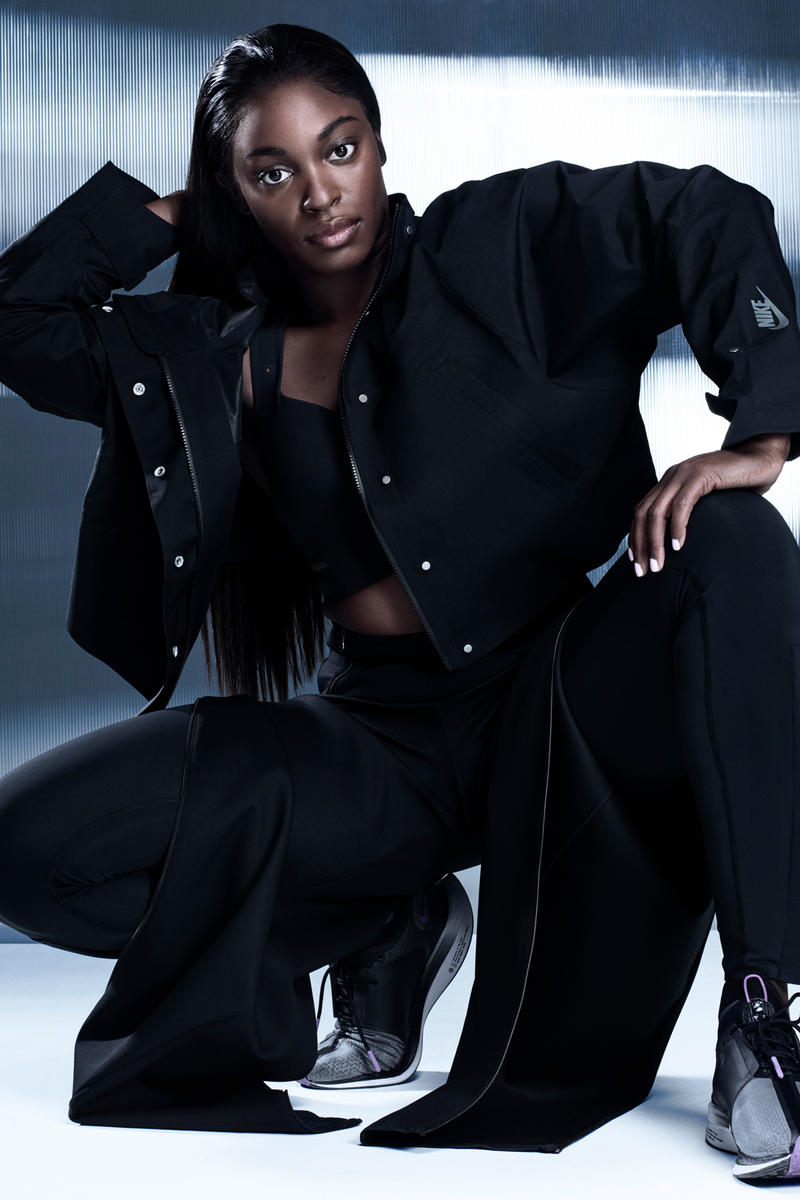 Nike City Ready Collection Campaign Sloane Stephens Motion Adaptation Bra Crop Jacket Tights Black