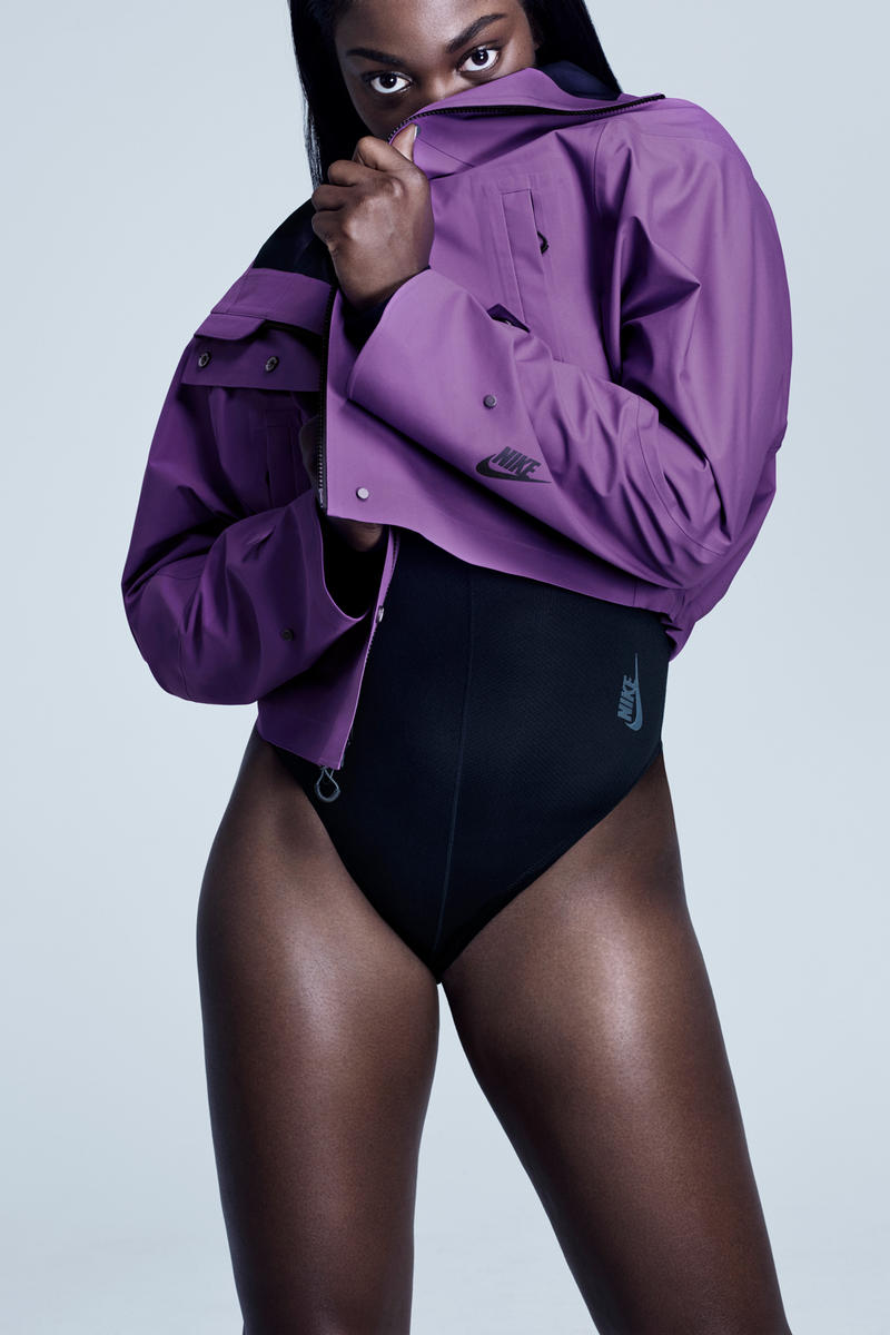 Nike City Ready Collection Campaign Sloane Stephens Bodysuit Black Crop Jacket Purple