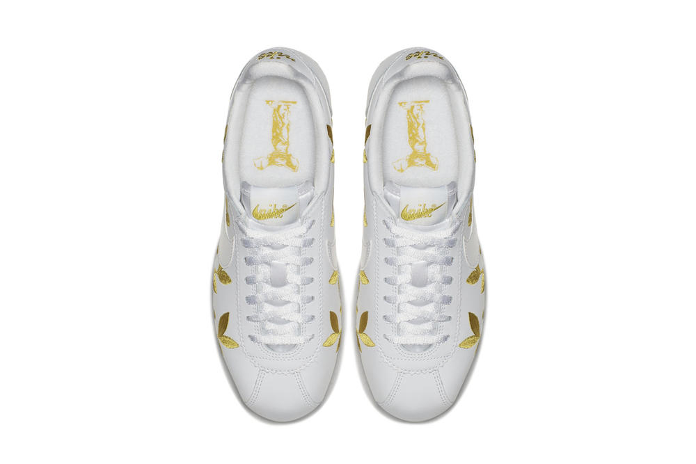 Nike Cortez White Sneaker Runner Gold Leaf Embroidery Print Pattern