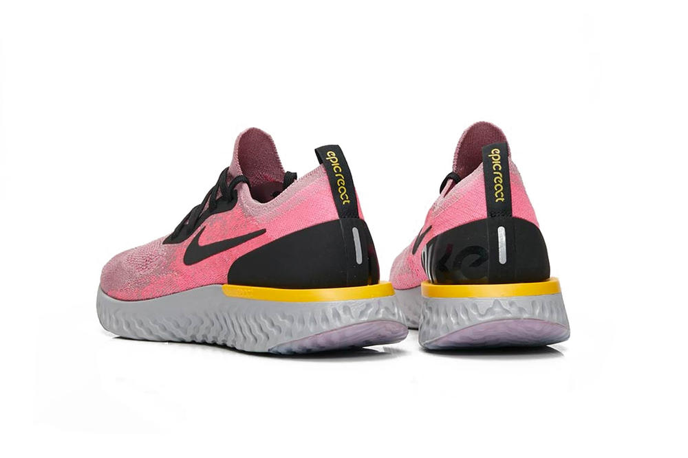 "Nike Epic React Flyknit ""Plum Dust"" Pink Running Shoe Trainer Running Sneaker Grey Yellow Two Tone"
