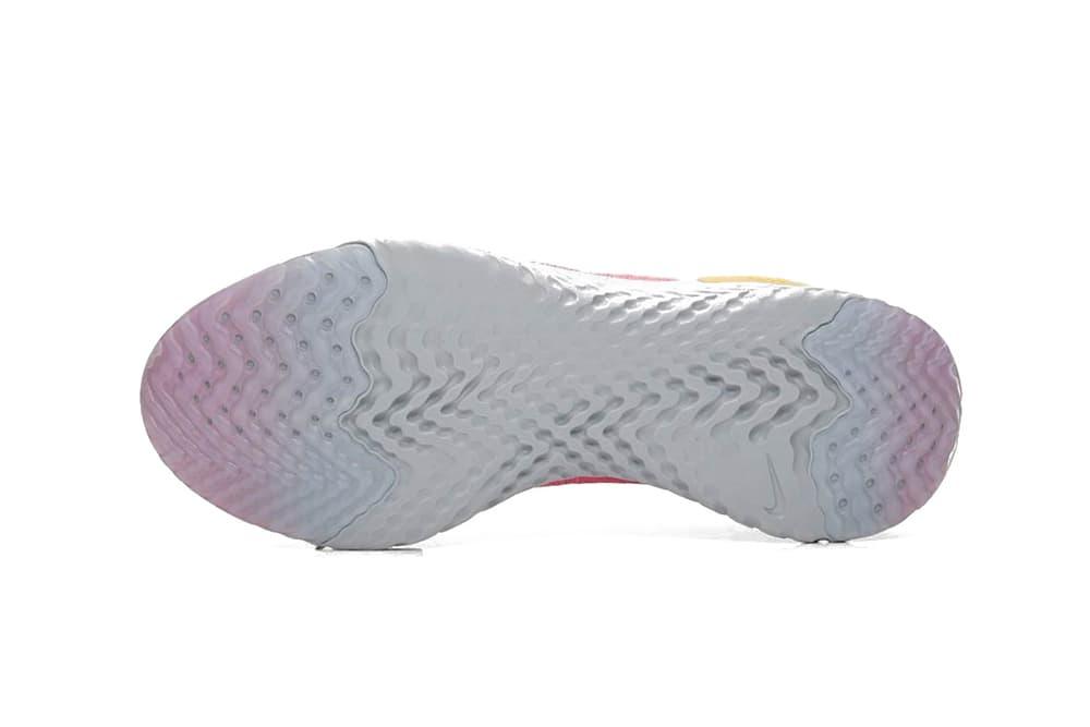 "Nike Epic React Flyknit ""Plum Dust"" Pink Running Shoe Trainer Running Sneaker Grey Yellow Two Tone"