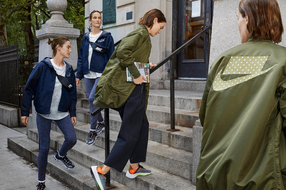 Nike Sport Pack Jane Moseley Editorial Block Logo Bomber Jacket Green Fanny Pack Epic React Element 87 Black