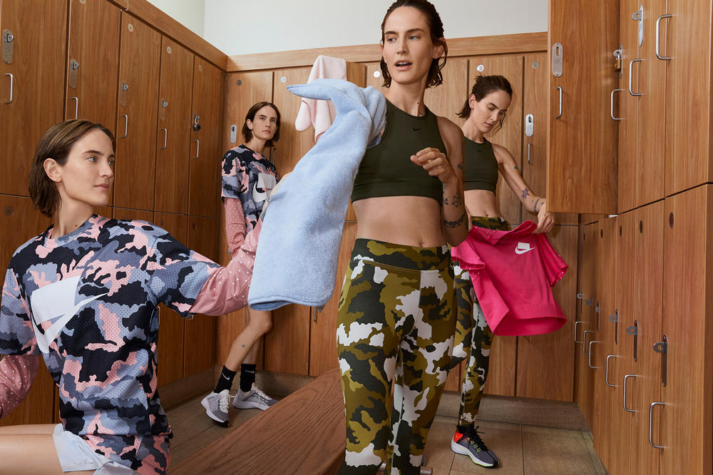 Nike Sport Pack Jane Moseley Editorial Camo Shirt Leggings Pink Grey Green EXP-X14 Black Total Crimson White