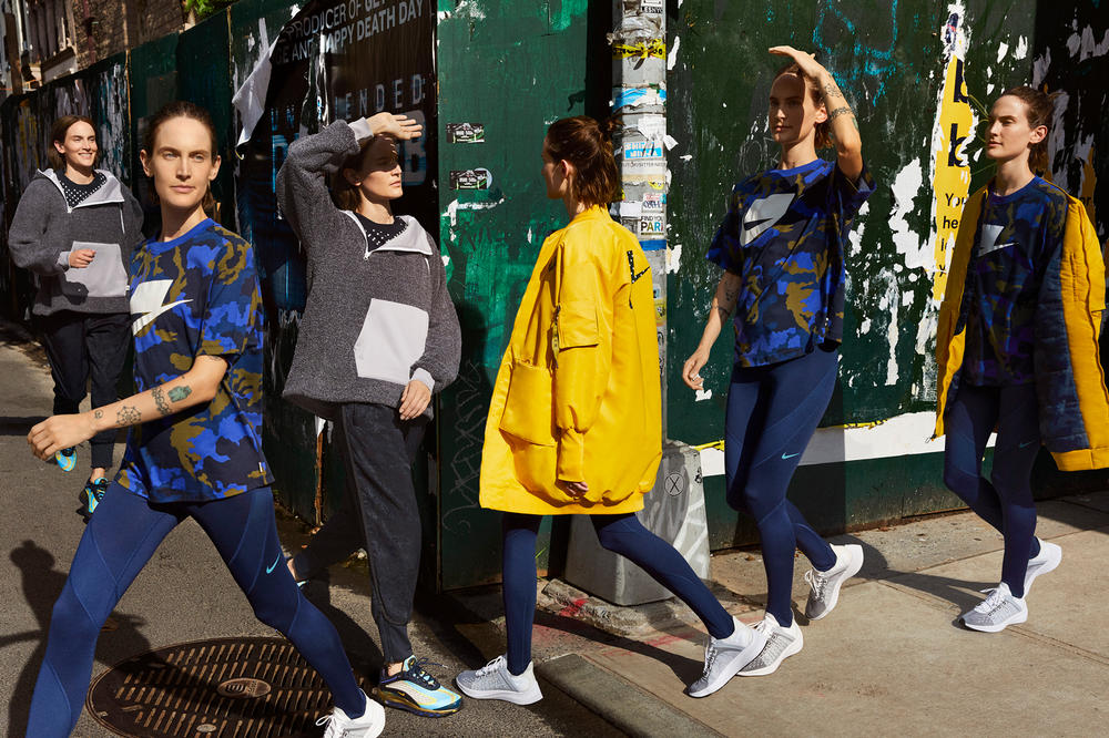 Nike Sport Pack Jane Moseley Editorial Jacket Yellow Block Logo T-shirt Camouflage Blue Grey EXP-X14 White Black