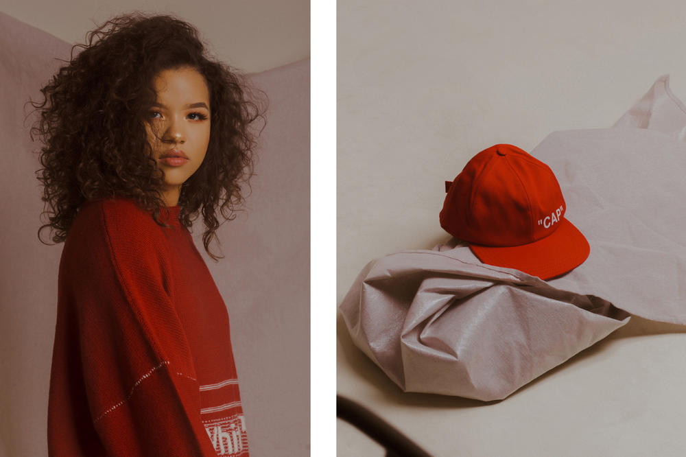 Off-White Fall/Winter 2018 Collection Editorial Sweater Quote Baseball Cap Red