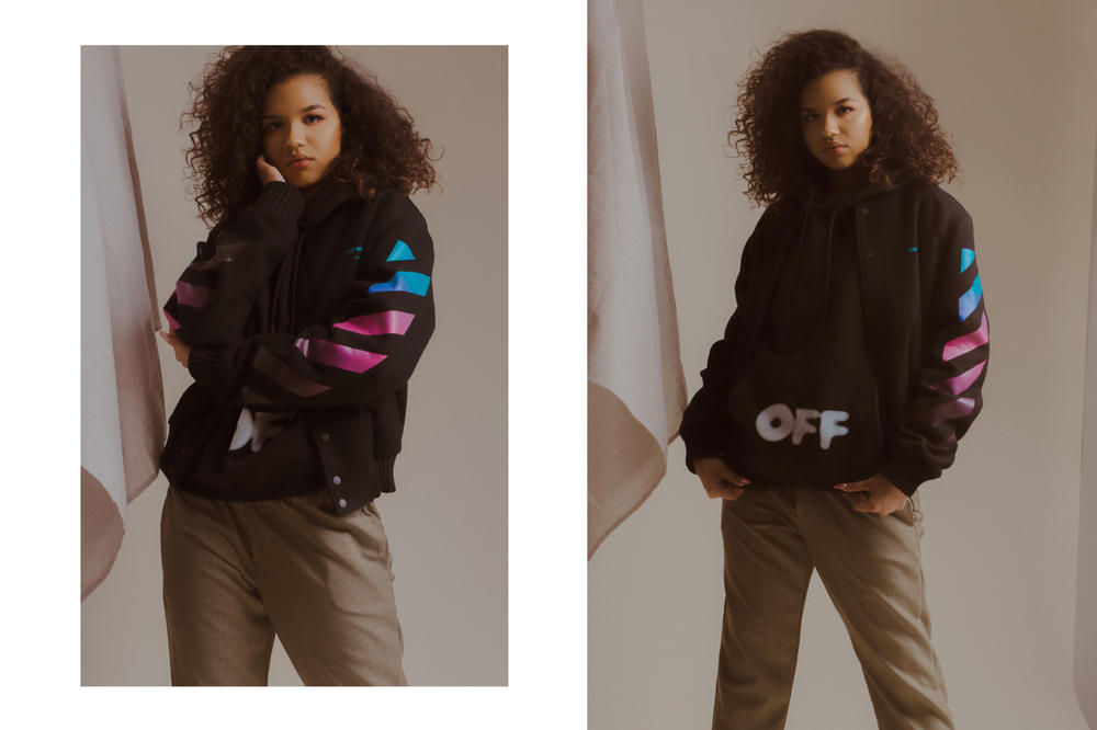 Off-White Fall/Winter 2018 Collection Editorial Diag Gradient Varsity Jacket Black