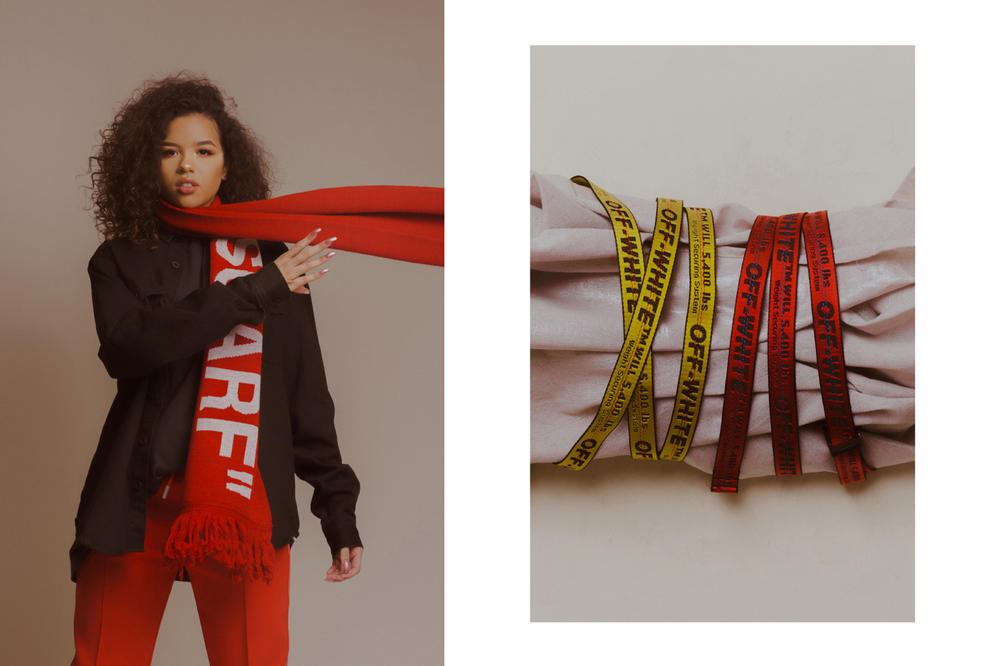 Off-White Fall/Winter 2018 Collection Editorial Quote Scarf Industrial Belt Red Yellow