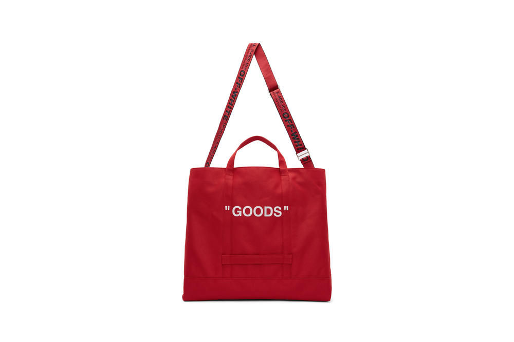 Off-White Quote Tote Red