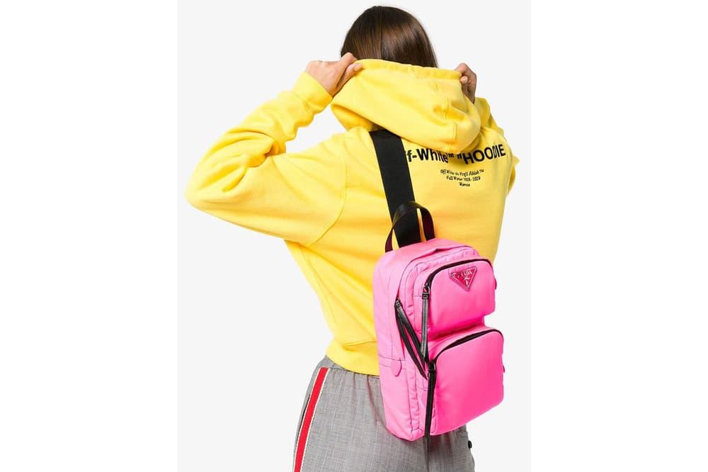e1a2092d975f Prada's One-Shoulder Backpack in Pink and Black | HYPEBAE
