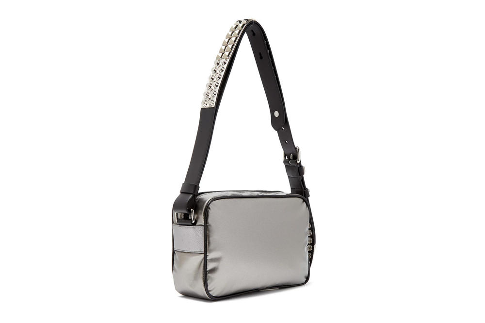 Prada's New Silver Nylon Cross-Body Bag Stud Strap Shiny Reflective