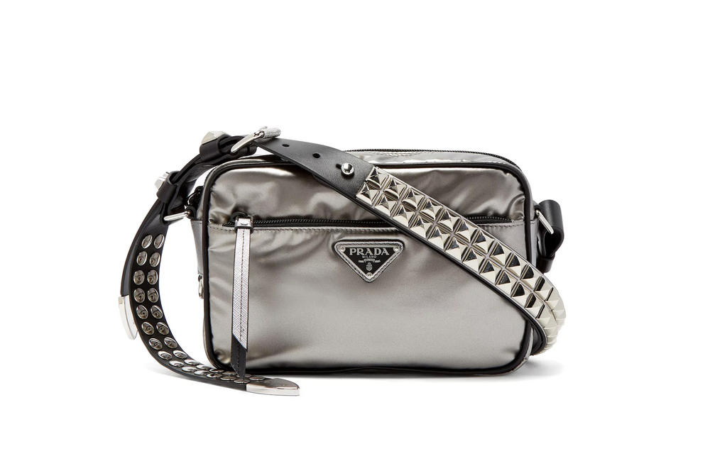 3ad434827a66 Prada's New Silver Nylon Cross-Body Bag Stud Strap Shiny Reflective