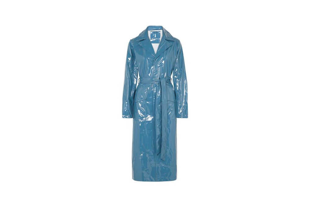 Rains x Net-a-Porter Capsule Collection Glossed-PU Trench Coat Faded Blue
