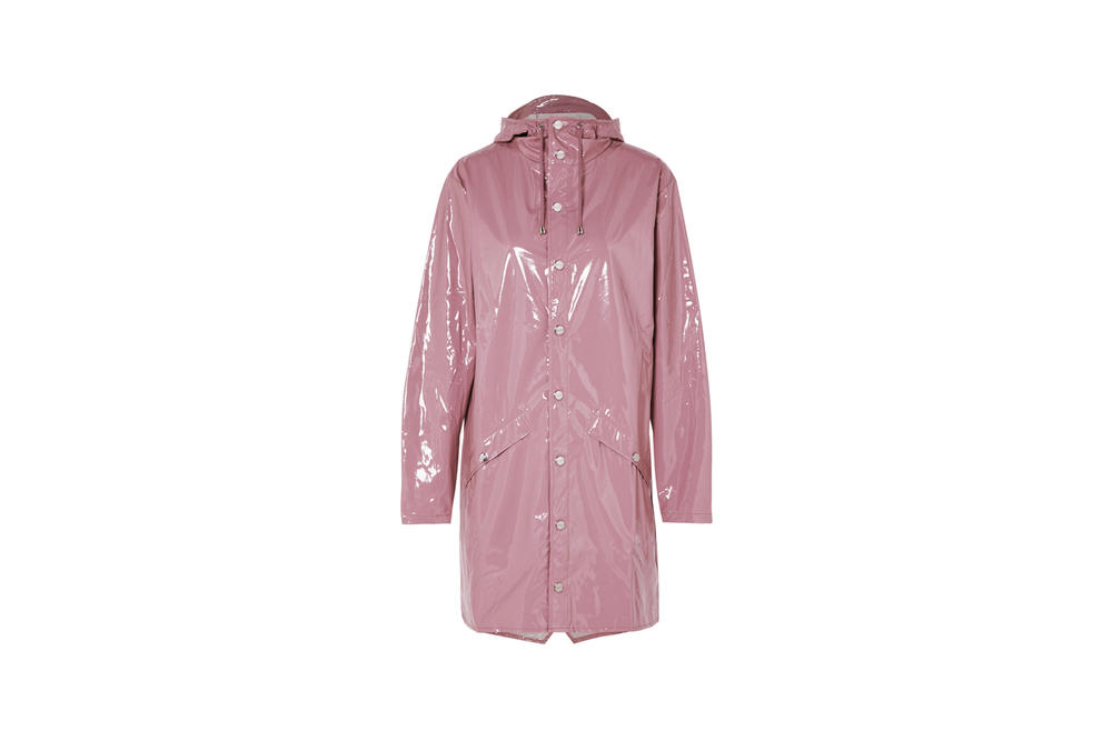 Rains x Net-a-Porter Capsule Collection Hooded Glossed PU Raincoat Rose